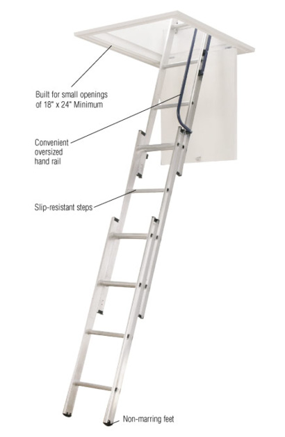 Product Overview  sc 1 st  Home Depot & Werner 7 ft. - 9 ft. 18 in. x 24 in. Compact Aluminum Attic Ladder ...