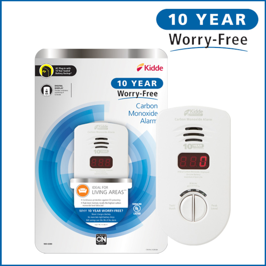Ten years, zero worries, Kidde 10-Year Worry-Free carbon monoxide alarms