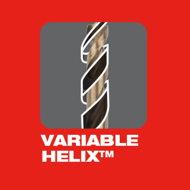 Designed with a Variable Helix that includes an aggressive 35° helical angle which ends at 15°