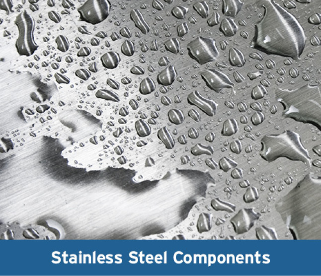 Close up of stainless steel with water droplets