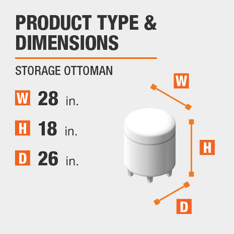 Storage Ottoman Product Dimensions 28 inches wide 18 inches high