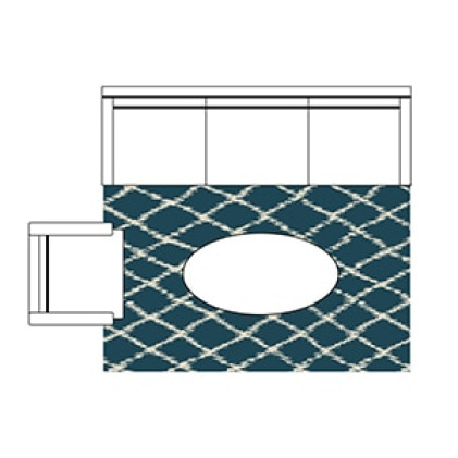 Clip art of a 5 ft x 8 foot rug is shown with a 3 section couch and armchair situated around the rug. There is an oval coffee table in the center.