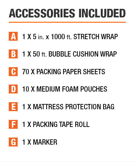 Moving box kits included accessories