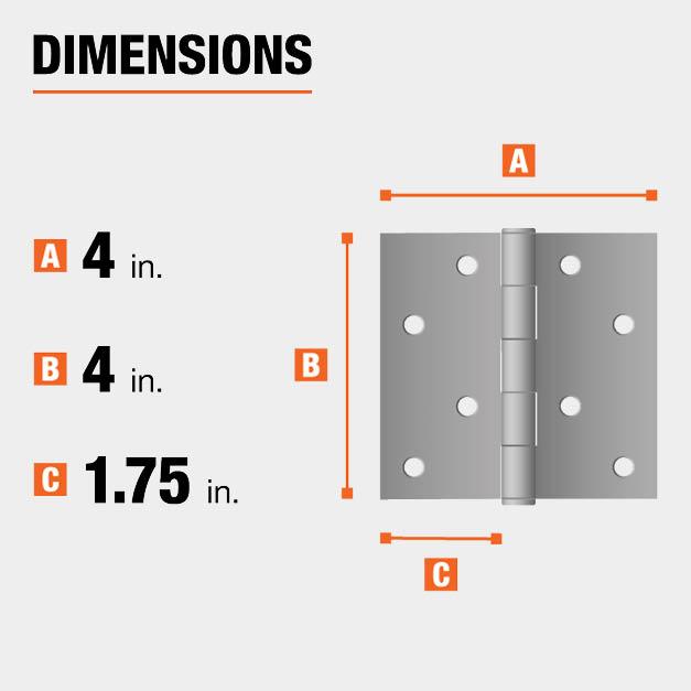 4 inch height x 4 inch width x 1.75 inch leaf width hinge dimensions