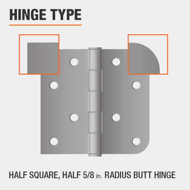 Half Square, Half 5/8 in. Radius Butt Hinge Type
