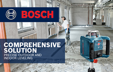 Bosch GRL300HVCK being used by 1 person to level out space.