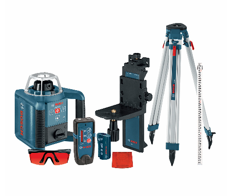 Features the GRL300HVCK including LR30 Receiver, RC1 remote control, wall mount, tripod and rod, laser glasses, target, D battery and carrying case.