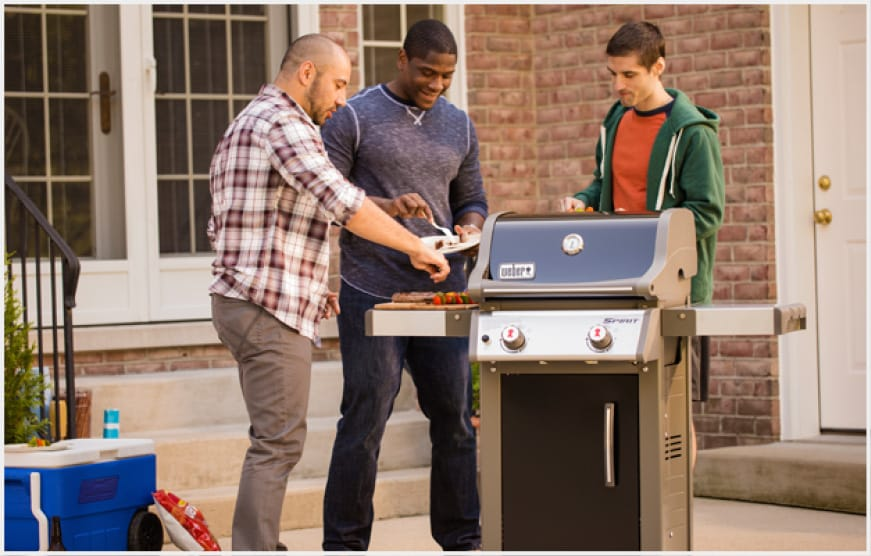 The Spirit E-210 two burner gas grill was built to fit smaller spaces, perfect for a patio or balcony.