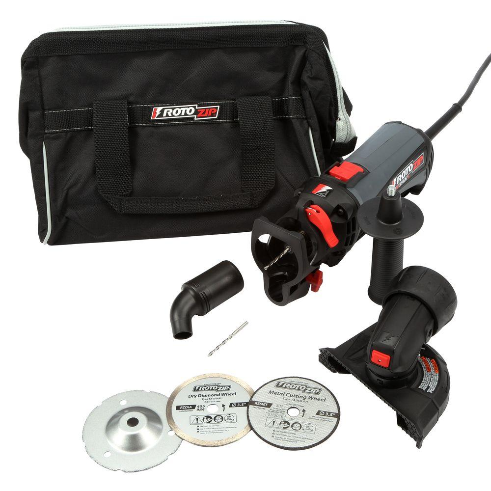 Rotozip rotosaw 6 amp corded variable speed spiral saw kit with rotozip rotosaw 6 amp corded variable speed spiral saw kit with 11 accessories and a carrying case ss560vsc 50 the home depot dailygadgetfo Choice Image