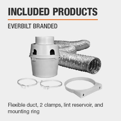 Flexible duct, 2 clamps, and a lint reservoir is included in this kit