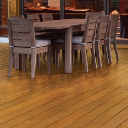 Exterior wood deck coated with Semi-Transparent Penetrating Oil Wood Stain - Cedar color (Cedar Naturaltone NO. 4633).