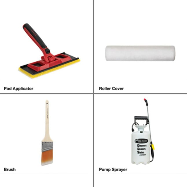 Proper tools for application. Pad applicator, roller cover, brush, and pump spayer.
