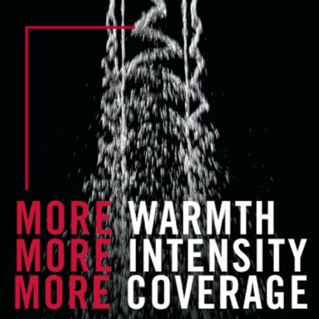 "Image is an up-close view of the H2Okinetic shower spray wave pattern on a black background with the copy ""more warmth, more intensity, more coverage"""