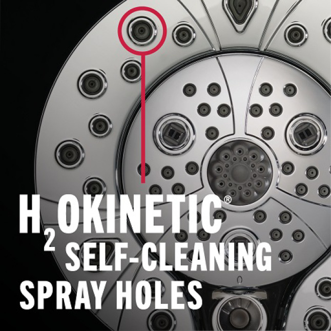 "Image is an up-close view of a showerhead with a red circle highlighting the spray holes with copy ""H2Okinetic Self-Cleaning Spray Holes"""