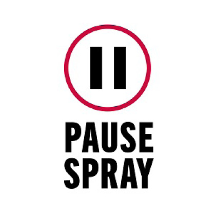 "Image is a black and white line drawing of ""pause"" symbol with copy ""Pause Spray"""