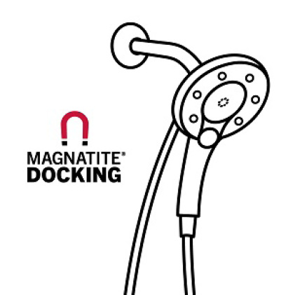 "Image is a black and white line drawing of an In2ition hand shower with copy ""MagnaTite Docking"""