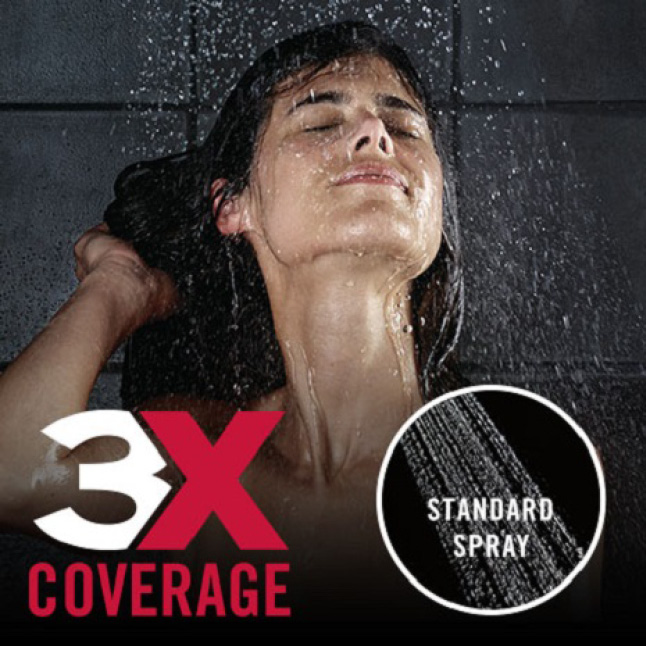 "Image of a female model with water coming down over her (showerhead not shown), the copy ""3X the coverage"" and a comparison to a standard shower spray"