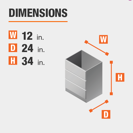 The dimensions for this kitchen cabinet are 12 in. W x 24 in. D x 34 in. H