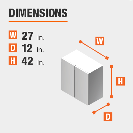 The dimensions for this kitchen cabinet are 27 in. W x 12 in. D x 42 in. H