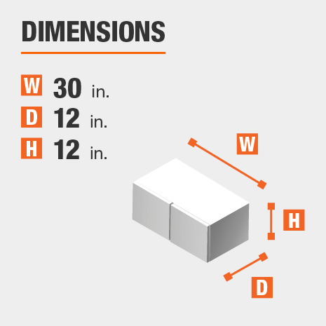 The dimensions for this kitchen cabinet are 30 in. W x 12 in. D x 12 in. H
