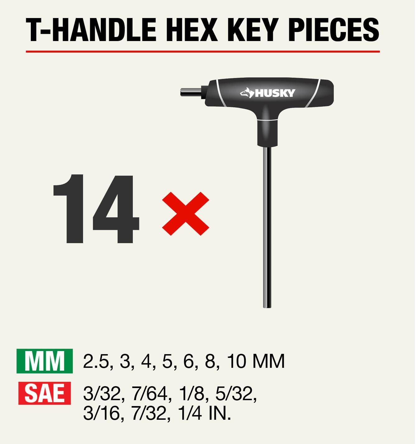 CRAFTSMAN Folding Hex Key SAE and Metric 14 pc Set black
