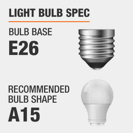 This chandelier requires a E26 bulb base, and a A15-shaped light bulb is recommended.
