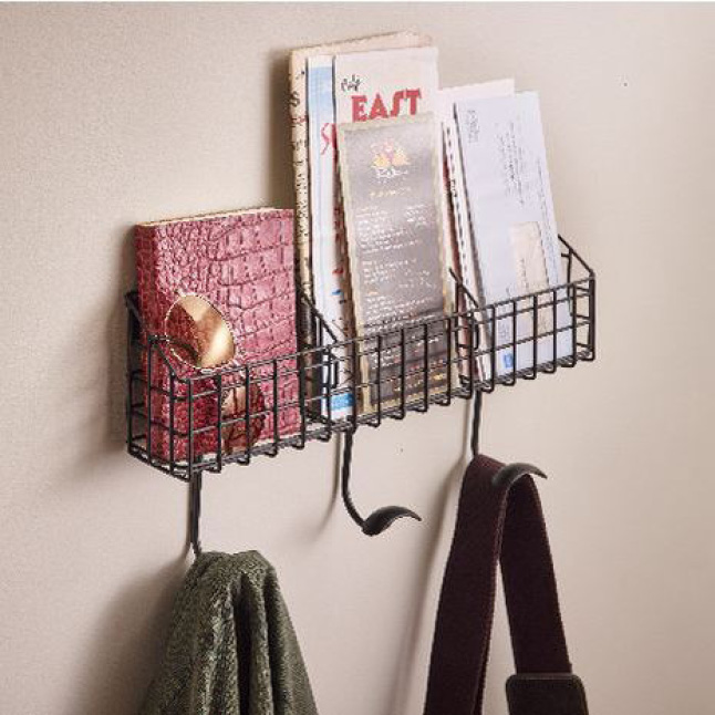 Hook Rack with Additional Basket Storage, Coat Hanger, Purse Hanger