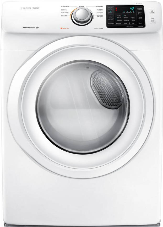 Samsung 7 5 Cu Ft Electric Dryer In White Dv42h5000ew The Home Depot