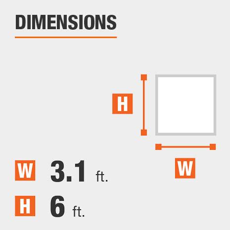 Height equals 6 feet Width equals 3.1 feet