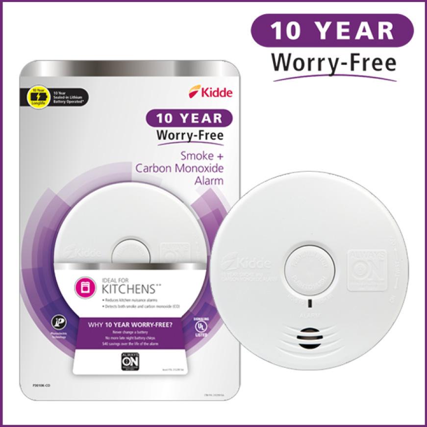Ten years, zero worries, Kidde 10-Year Worry-Free smoke, and carbon monoxide alarms