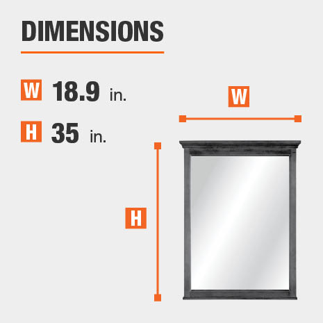The dimensions of this bathroom vanity mirror are 18.9 in. W x 35 in. H