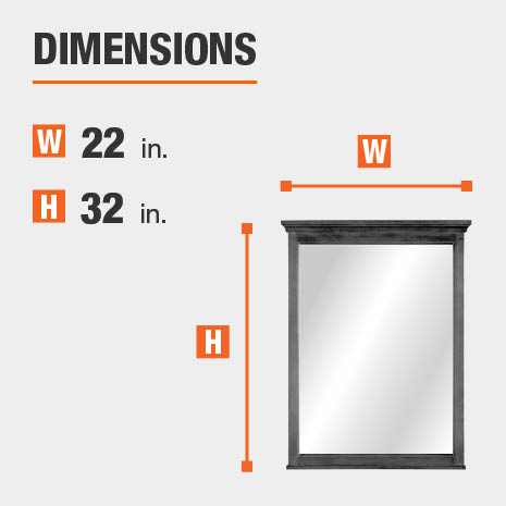 The dimensions of this bathroom vanity mirror are 22 in. W x 32 in. H