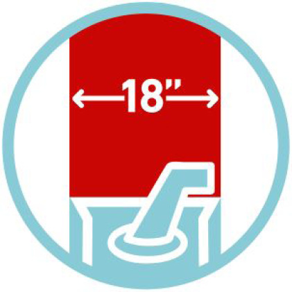 "icon of 18"" clearing width"