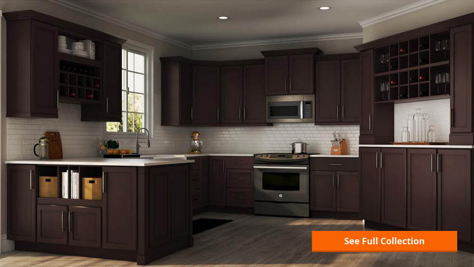 Hampton Bay Shaker Assembled 15x42x12 In Wall Kitchen Cabinet In Java Kw1542 Sjm The Home Depot
