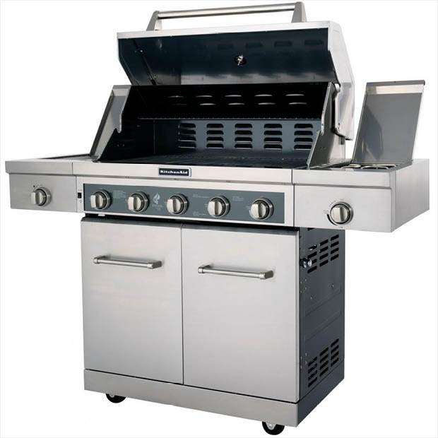 KitchenAid 5-Burner Propane Gas Grill in Stainless Steel with Sear ...