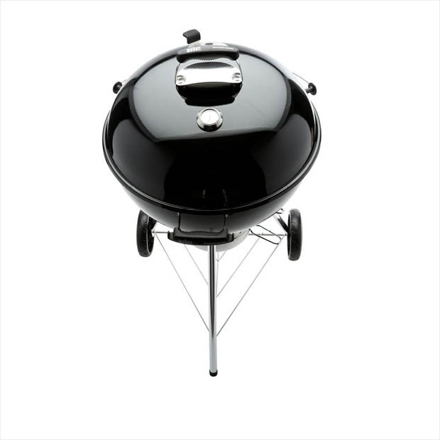 Black Weber charcoal grill detail