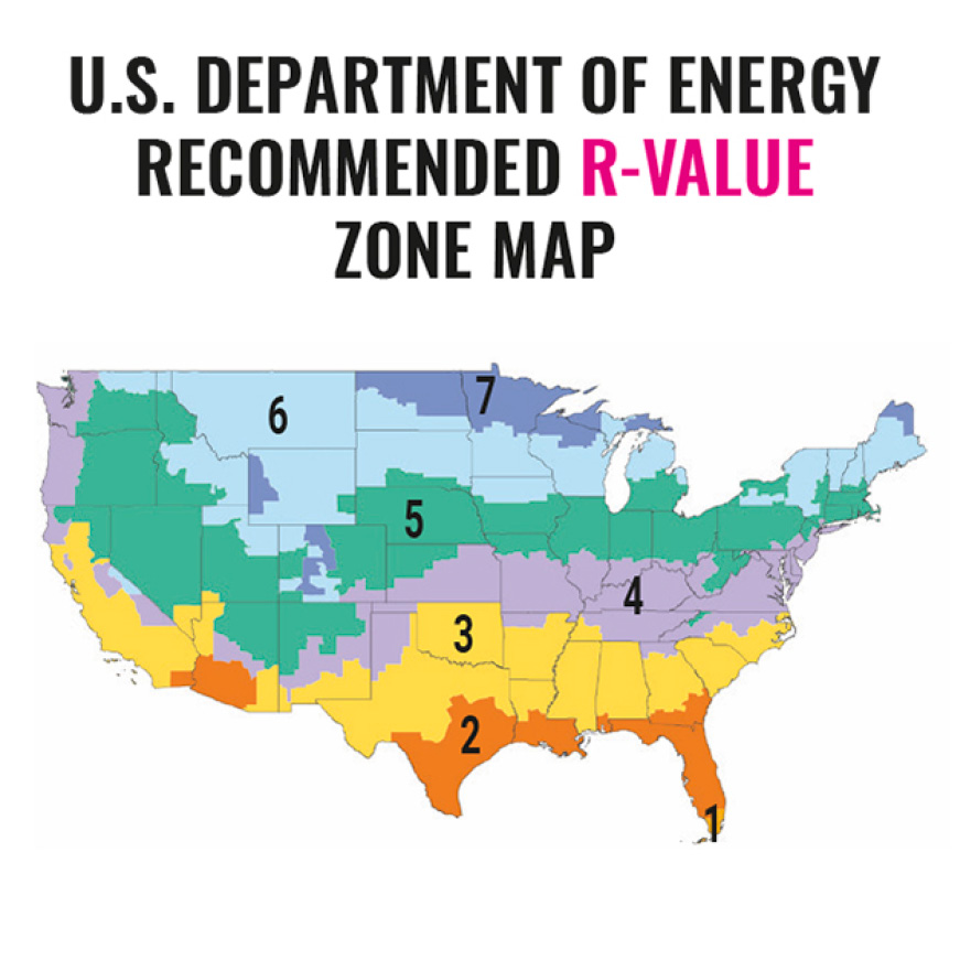 Department of Energy recommended R-value map