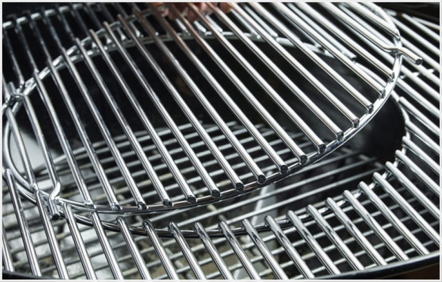 Remove the circular grate insert and replace it with any of the Gourmet BBQ System inserts.