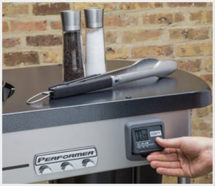 The timer mounts to the grill work table and is an easy way to set timers for preheat and grilling sessions.