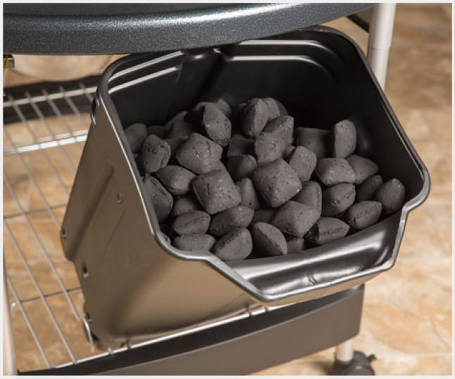 The weather-protected CharBin storage container is a convenient way to store charcoal.