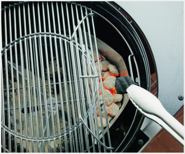 Remove the circular grate insert and replace it with any of Gourmet BBQ System inserts.The hinged grate makes it easy to add charcoal while grilling.
