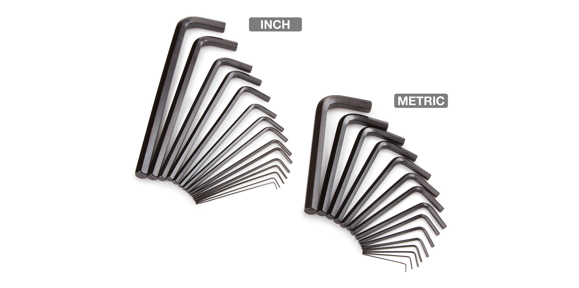 Image of various size long arm and short arm hex keys