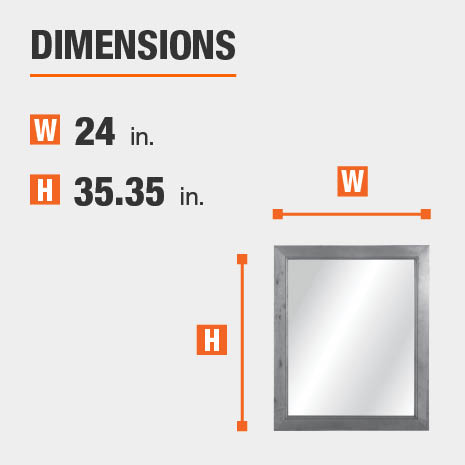 The dimensions of this bathroom vanity mirror are 24 in. W x 35.35 in. H