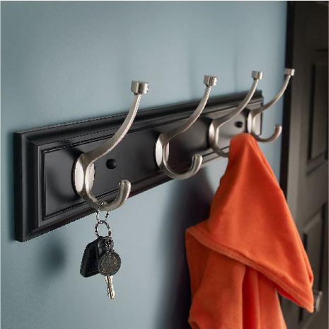 Wall Mounted Hook Rack, Four Hooks, Key Storage, Coat Storage