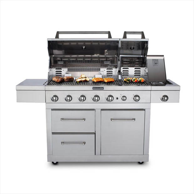 Stainless Steel Kitchenaid Dual Fuel Grill Detail
