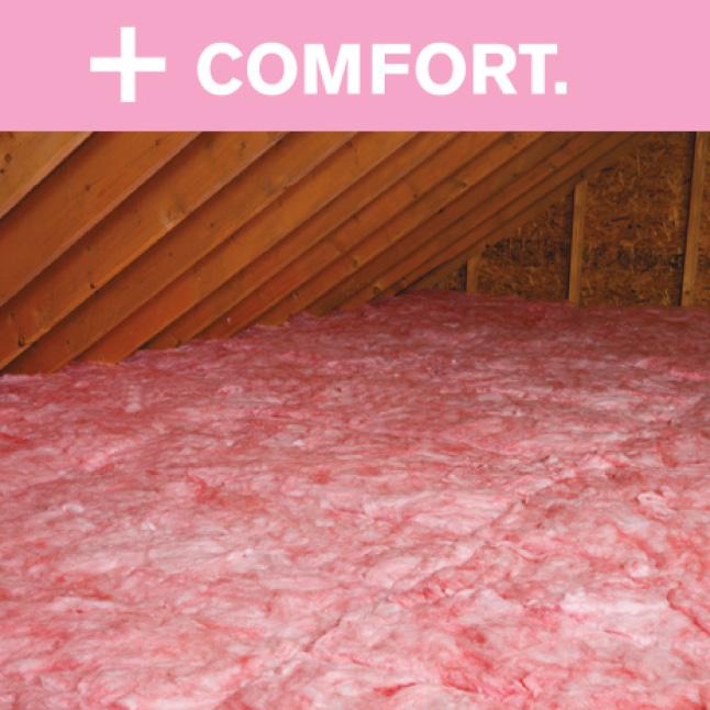Attic showing pink fiberglass insulation
