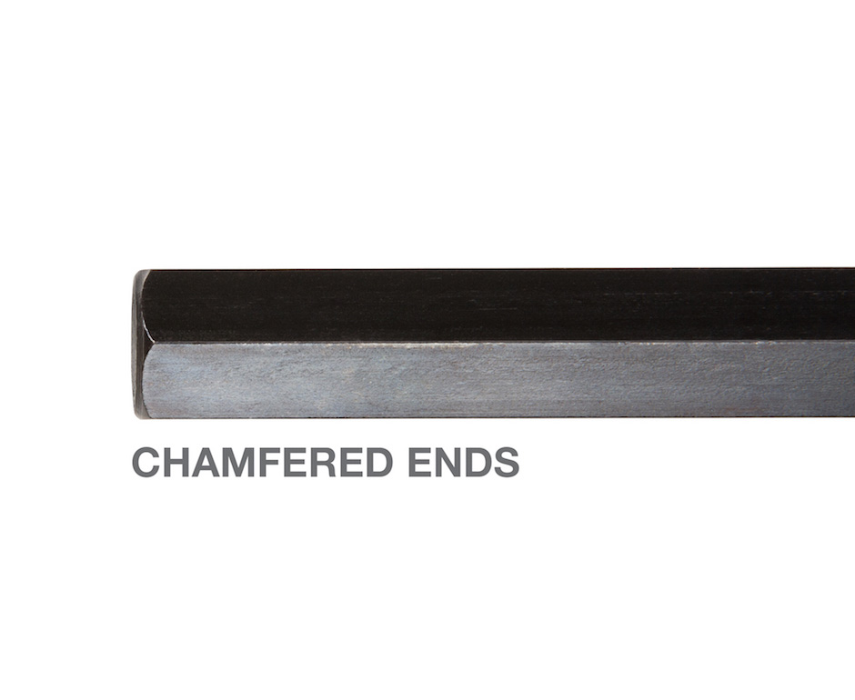 Close up image of chamfered ends