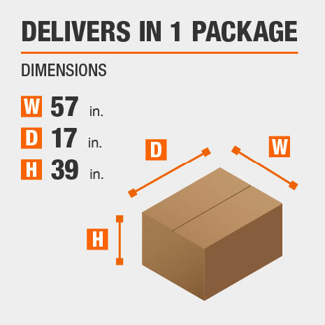 Delivers in 1 Package with the Dimensions of 57 inches wide, 17 inches deep, 39 inches high.