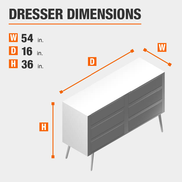 Dresser Dimensions of 54 inches wide, 16 inches deep, 36 inches high.