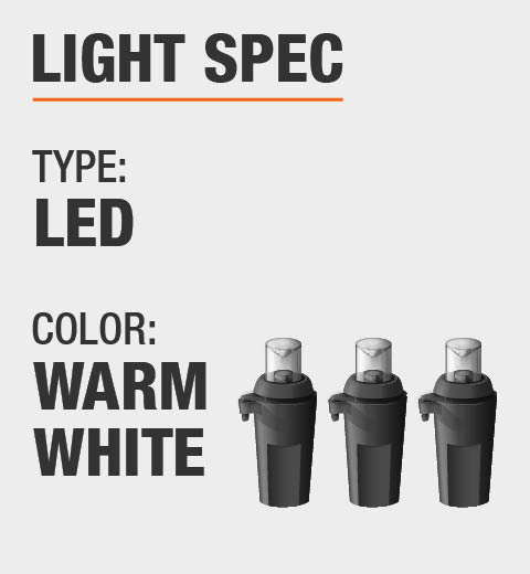 The light type  is LED and the color is Warm White